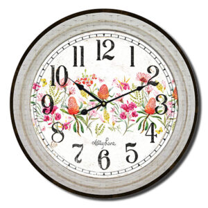 Clock Country Vintage Inspired Wall Blossom Wattle 34cm
