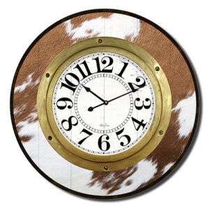 Clock Country Vintage Inspired Wall Large Country Cow Hide 60cm