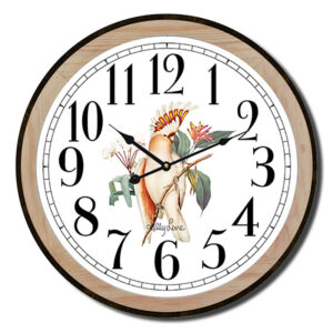 Clock Country Vintage Inspired Wall Parrots Cockatoo 22cm