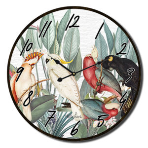 Clock Country Vintage Inspired Wall Parrots Sand 34cm