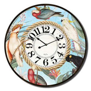 Clock Country Vintage Inspired Wall Large Parrots Blue 60cm