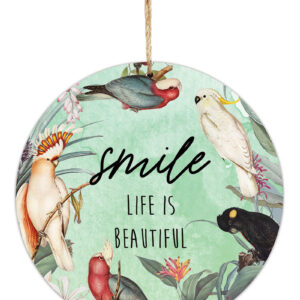 Country Metal Tin Sign Wall Art Parrots Smile Round Plaque