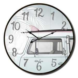 Clock Country Vintage Inspired Wall Wanderlust Kombi 34cm