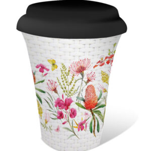 French Country Travel Tea Coffee Mug Blossom Floral Border