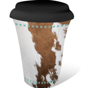 French Country Travel Tea Coffee Mug Country Cow Hide
