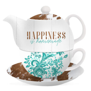 Floral Teapot Country Happiness Tea For One Cup and Saucer