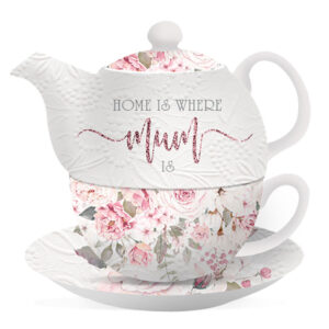 Floral Lovely Teapot Mothers Day Tea For One Cup and Saucer