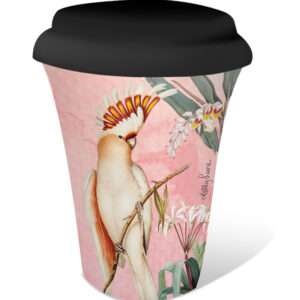 French Country Travel Tea Coffee Mug Parrots Apricot