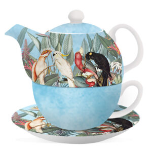 Floral Teapot Parrots Birds Blue Tea For One Cup and Saucer