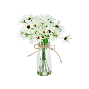 French Country Artificial White Chrysanthemum in Glass Vase
