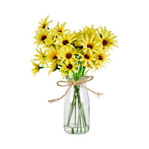 French Country Artificial Yellow Chrysanthemum in Glass Vase