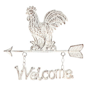 French Country Wall Art Whitewash Chicken Hanger Wrought Iron