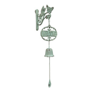 French Country Wall Art Green Bird Welcome Bell Wrought Iron