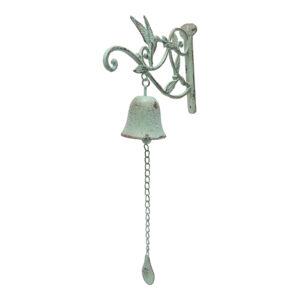 French Country Wall Art Green Bird Hanger Bell Wrought Iron