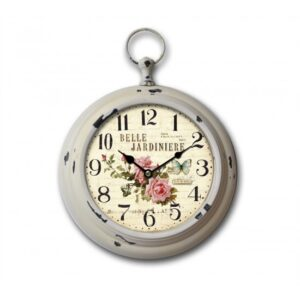 Clock French Country Vintage Wall Hanging Belle Jardinere Metal