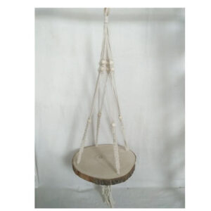 French Country MACRAME POT PLANT HANGER with Wooden Plank