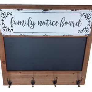 Country Farmhouse Family Notice Board with Hooks Wall Sign