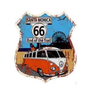 Country Metal Tin Sign Wall Art Santa Monica Kombi 66