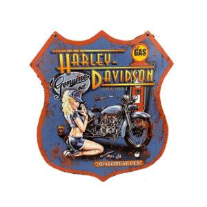 Country Metal Tin Sign Wall Art Harley Davidson Girl