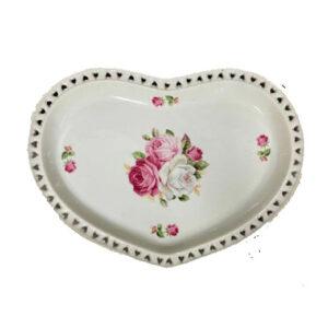 Elegant Kitchen Plate Heart Pink Roses Serving Tray Platter