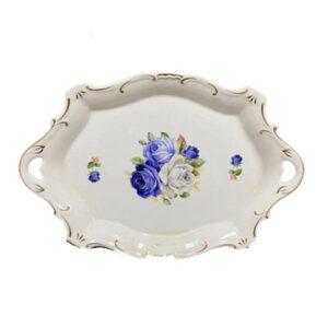 Elegant Kitchen Plate Rectangle Blue Roses Serving Tray Platter