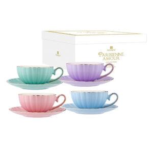 Elegant Kitchen Parisienne Amour Assort Colour 4 Tea Cup Saucer Set