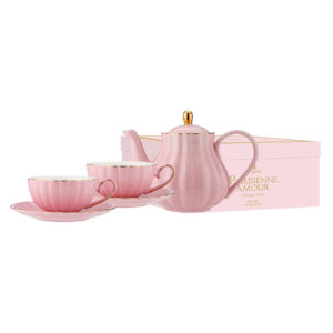 Elegant Kitchen Parisienne Amour Pink Teapot 2 Tea Cup Saucer Set