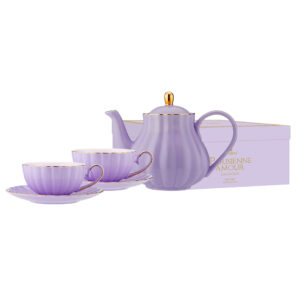 Elegant Kitchen Parisienne Amour Purple Teapot 2 Tea Cup Saucer Set