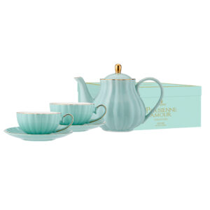 Elegant Kitchen Parisienne Amour Green Teapot 2 Tea Cup Saucer Set