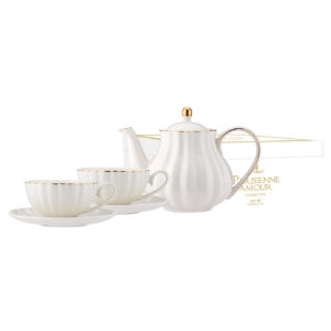 Elegant Kitchen Parisienne Amour White Teapot 2 Tea Cup Saucer Set