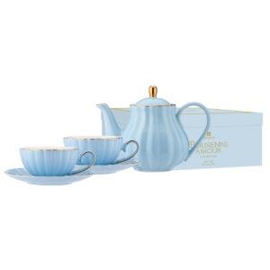 Elegant Kitchen Parisienne Amour Blue Teapot 2 Tea Cup Saucer Set