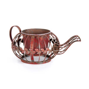 French Country Rustic Metal Teapot Garden Pot Ornament