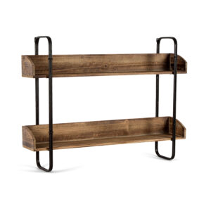 French Country Wood and Metal Iron Wall Shelf Large
