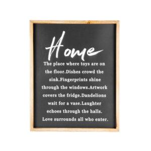 Monochrome Black Sign Home Love Surrounds Framed Wall Art