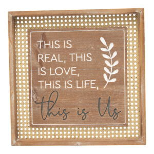 Country Farmhouse Sign This is Us Rattan Framed Wall Art