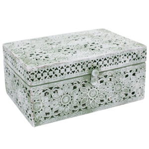 French Country Lace Metal Trinket Box Pastel Green Rectangle with Lid