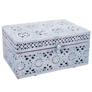 French Country Lace Metal Trinket Box Pastel Blue Rectangle with Lid