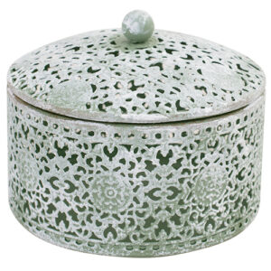 French Country Lace Metal Trinket Box Pastel Green Round with Lid