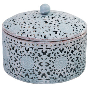 French Country Lace Metal Trinket Box Pastel Blue Round with Lid