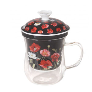 French Country Kitchen Tea Cup Mug Glass Poppies on Black with Strainer