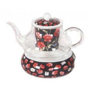 Elegant Kitchen Poppies on Black Floral Glass Teapot