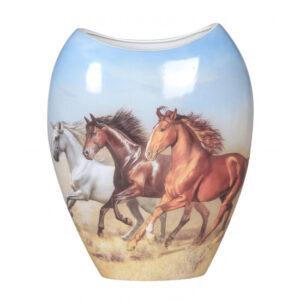 Elegant Horses China Country Flowers Vase