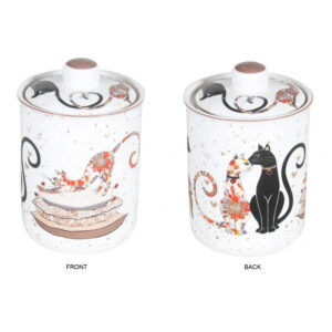 Elegant Kitchen Dining Embossed Cat Couple Canister
