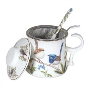 French Country Kitchen Tea Mug Australian Birds with Lid and Strainer