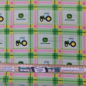 Quilting Patchwork Fabric John Deere Tractors Green Pink Plaid 50x55cm FQ