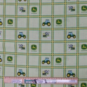 Quilting Patchwork Fabric John Deere Tractors Green Plaid 50x55cm FQ