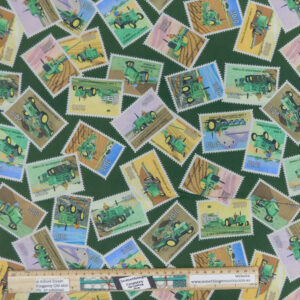 Quilting Patchwork Fabric John Deere Tractors Green Stamps 50x55cm FQ