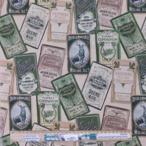 Quilting Patchwork Fabric John Deere Tractors Pocket Companion 50x55cm FQ