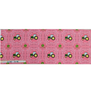 Patchwork Quilting Sewing John Deere Tractor Coral Pink Panel 40x110cm