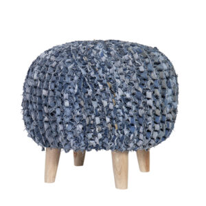 French Country Vintage Recycled Blue Denim Foot Stool